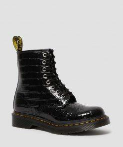 Dr. Martens Patent Croc Emboss Boots Black Lamper Croc