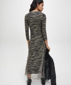 Calvin Klein Zebra Maxi Dress Irish Cream/Black