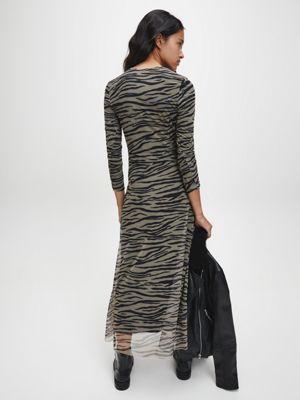 Calvin Klein Zebra Maxi Dress Irish Cream/Black