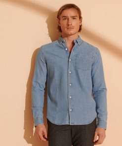 Superdry Classic Denim Button Down Shirt Worn Washn