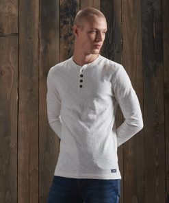 Superdry Legacy Long Sleeve Henley Cream