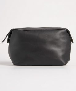 Superdry Vermont Leather Washbag Black