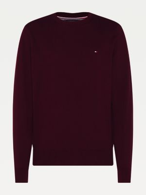 Tommy Hilfiger Pima Cotton/Cashmere Sweater Deep Burgundy Heather