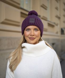 Pura Merino Rib Pompom Beanie Purple