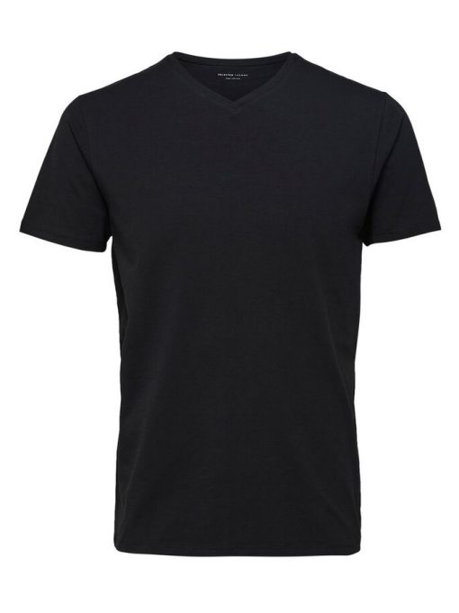 Selected Homme New Pima V-neck T-shirt Black