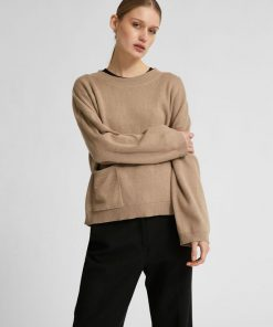 Selected Femme Cille Knit Pocket Jumper Silver Mink
