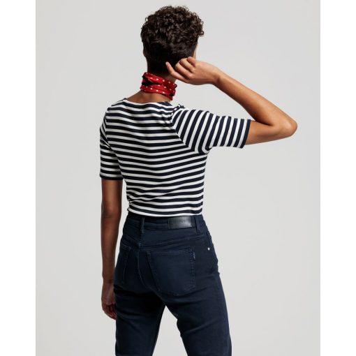 Gant Women Striped Rib T-shirt evening Blue