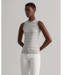 Gant Women Striped Rib Top Light Grey Melange