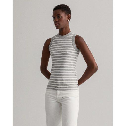 Gant Women Striped Rib Top Light Grey Melange