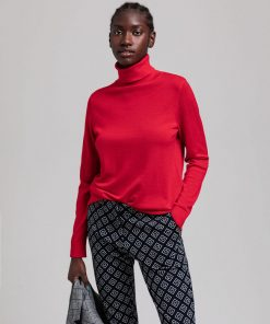Gant Woman Merino Turtle Neck Bright Red