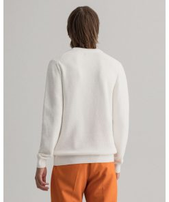 Gant Basketweave Crewneck Sweater Eggshell