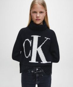 Calvin Klein Logo Roll Neck Sweater Black