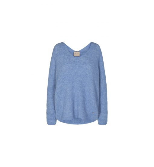 Mos Mosh Thora V-neck Knit Bel Air Blue