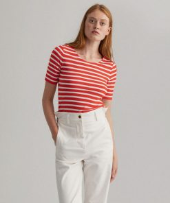 Gant Women Striped Rib T-shirt Lava Red