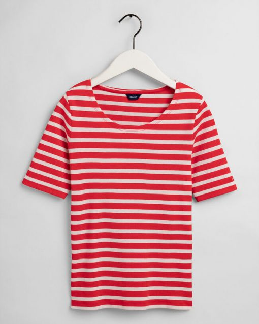 Gant Woman Striped Rib T-shirt Lava Red