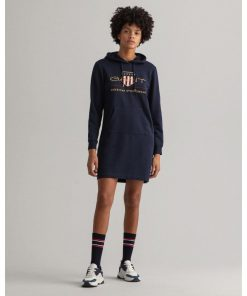 Gant Woman Archive Shield Hoodie Dress Evening Blue