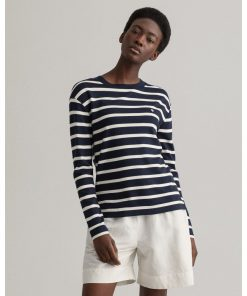 Gant Woman Breton Stripe Ls T-shirt Evening Blue