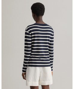 Gant Woman Breton Stripe Ls T-shirt Evening Blue
