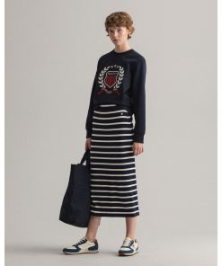 Gant Woman Breton Stripe Jersey Skirt Evening Blue