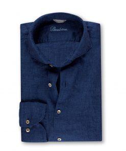 Stenströms Fitted Body Linen Shirt Blue