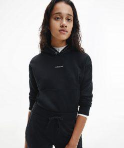 Calvin Klein Logo Trim Hoodie Black