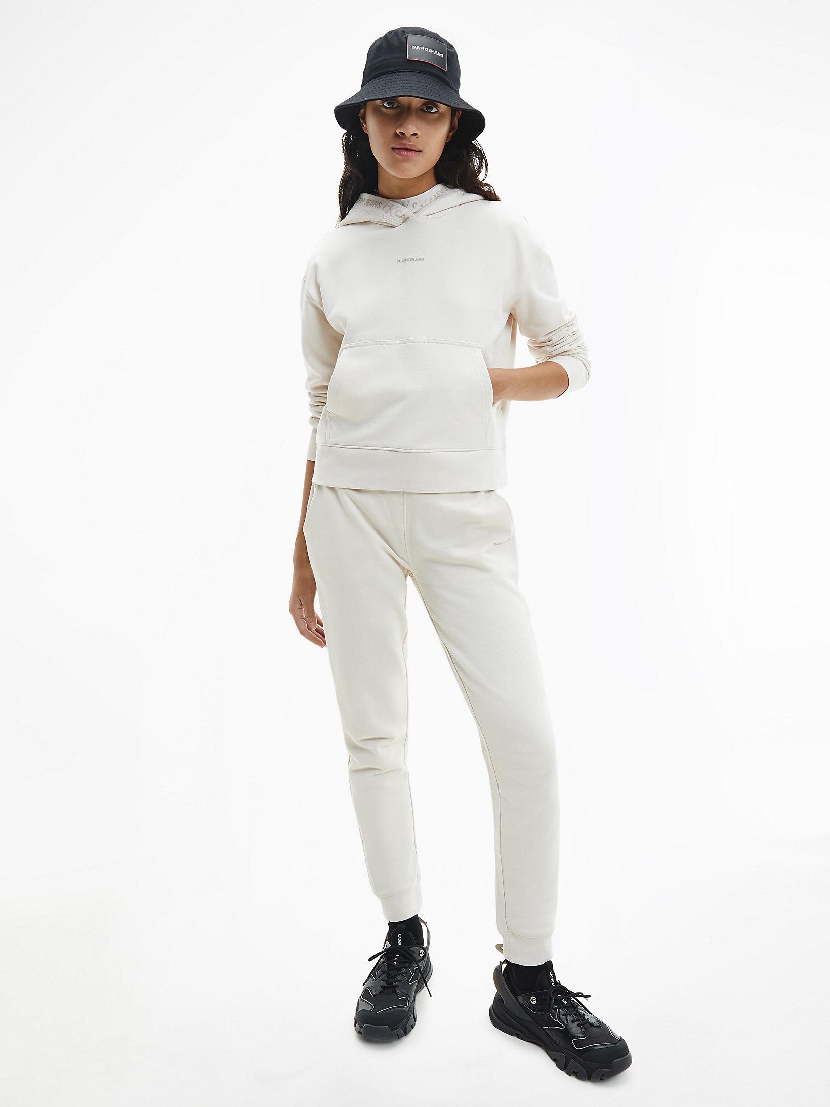 Calvin Klein Logo Trim Hoodie White Sand