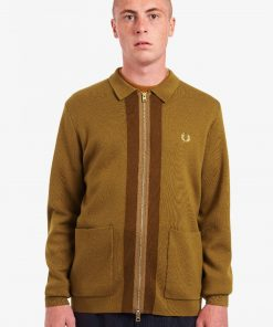 Fred Perry Zip Through Cardigan Dark Caramel