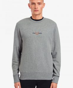 Fred Perry Embroidered Sweatshirt Steel Marl