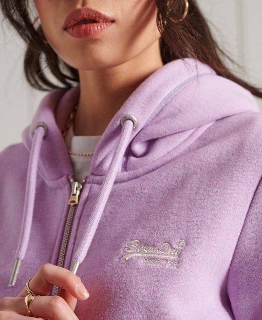 Superdry Orange Label Classic Zip Hoodie Lavender Marl