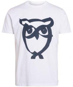 Knowledge Cotton Apparel Alder Brused Owl Tee White