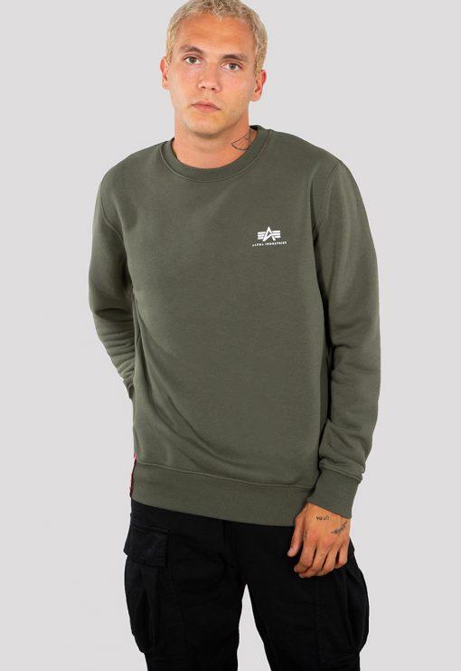 Alpha Industries Basic Sweater Small Logo Dark Olive