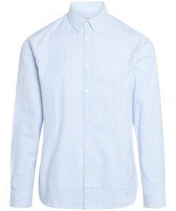 Knowledge Cotton Apparel Elder Striped Owl Shirt Blue