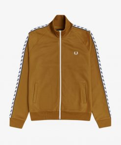 Fred Perry Taped Track Jacket Dark Caramel