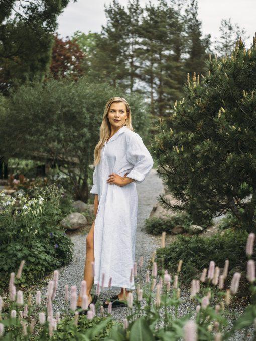 Pura Linen Button Dress White