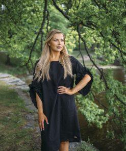 Pura Linen Swan Dress Black
