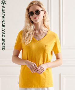 Superdry Pocket V Neck Tee Pigment Yellow
