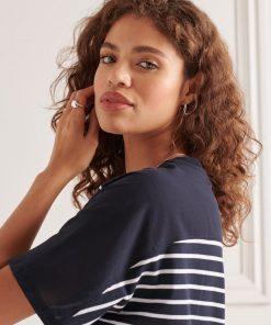 Superdry Cotton Modal T-Shirt Dress Eclipse Navy Stripe