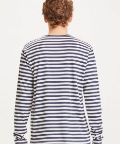 Knowledge Cotton Apparel Locust Mercerized Striped Long Sleeve Total Eclipse