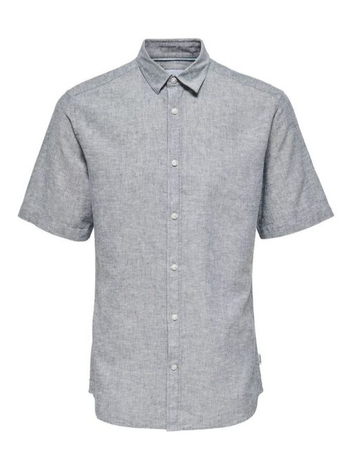 Only & Sons Caiden Life Linen Solid Shirt Grey