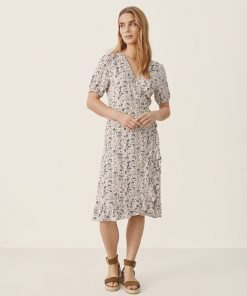 Part Two Claire Dress Neutral Botanical Print
