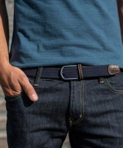 Billybelt Elastic Woven Belt Navy Blue