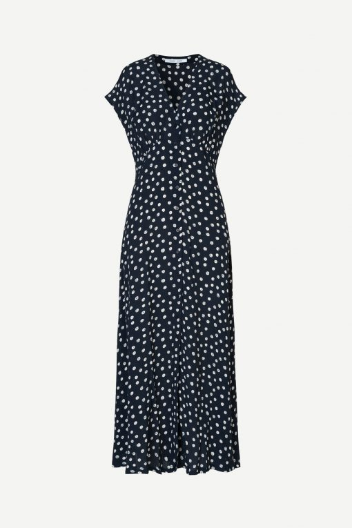 Samsoe & Samsoe Valerie Long Dress Blue Doodle Dot