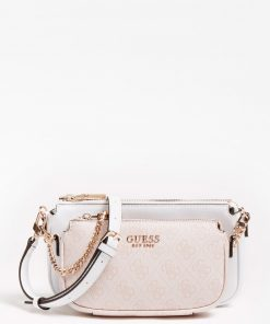 Guess Mika Double Pouch Crossbody Bag Light Pink