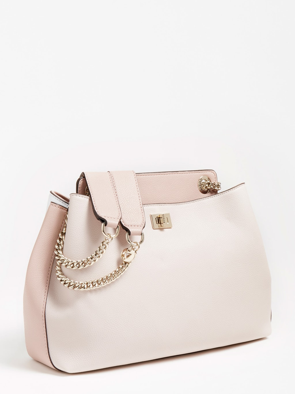 Guess Sandrine Shoulder Satchel White