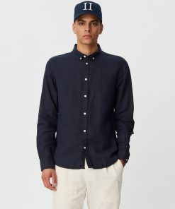 Les Deux Christoph Linen Shirt Dark Navy