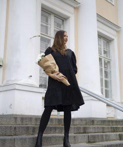 Pura Linen Puff Sleeve Dress Black
