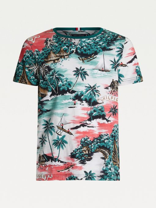 Tommy Hilfiger All Over Hawaiian Printed T-shirt White Allover