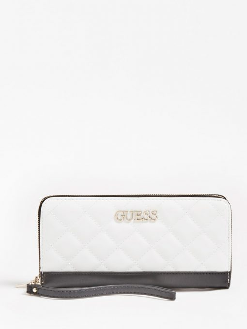 Guess Illy Quilted Zip Around Wallet White Multi