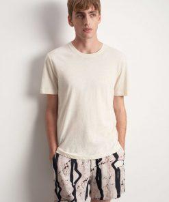 Tiger of Sweden Olaf Cotton/Linen T-shirt Ivory Sand