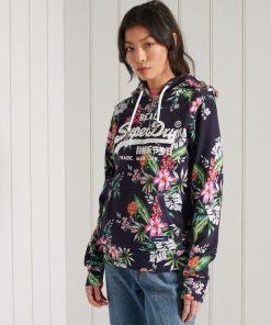 Superdry Aop Hood Navy Hawaiian